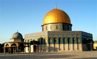 Mosque of the Dome of the Rock, built on 691–92 CE at the order of Umayyad Caliph Abd al-Malik, as the place where God created the world and the first human, where Abraham attempted to sacrifice his son, and the site where the Prophet Muhammad's Night Journey to heaven started, a Muslim sacred site.