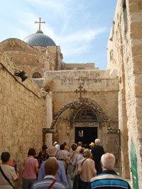 Jerusalem: side entrance to the Basilica of the Holy Sepulchre, which shelters the Calvary and the tomb of Jesus, a Christian sacred site.